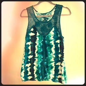 Sleeveless Tye Dye Top with crochet detail